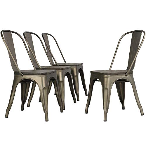 Topeakmart Metal Dining Chair Outdoor Dining Set Stackable Wood Chair for Kitchen/Patio/Dining Room/Outdoor/Indoor Decor Gun Metal Set of 4