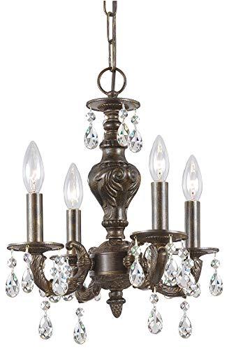 Crystorama 5024-VB-CL-MWP, Sutton Mini Crystal Chandelier Lighting, 4 Light, 240 Watts, Bronze ()