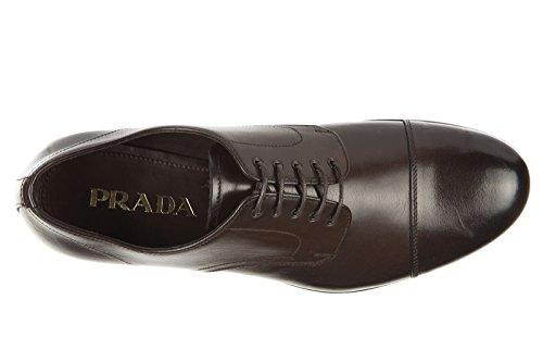 Prada chaussures à lacets classiques homme en cuir derby michigan marron