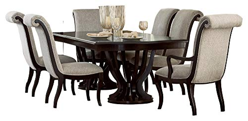 Sasha 7PC Dining Set Double Pedestal Table, 4 Side Chair, 2 Arm Chair in Espresso Double Pedestal Formal Dining Room