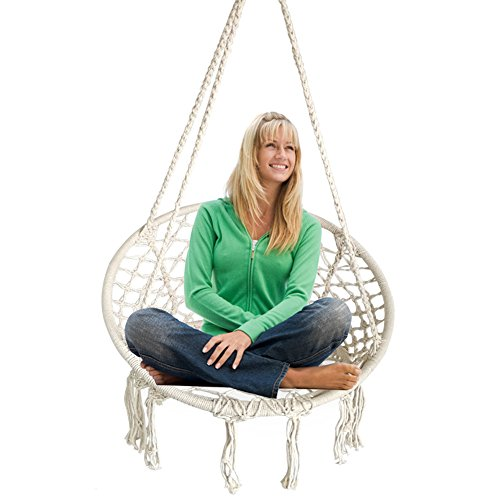 BHORMS Hammock Chair Macrame Swing for Any Indoor or Outdoor Spaces Home, Patio, Deck, Yard, Gar ...