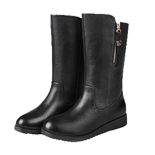 Black US9   EU40   UK7   CN41 Black US9   EU40   UK7   CN41 Women's Fashion Boots Leather Fall & Winter Casual Boots Flat Heel Round Toe Mid-Calf Boots Black