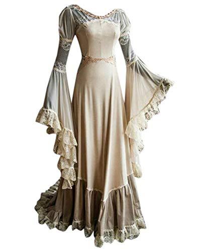 LY-VV Women Renaissance Medieval Costume Victorian Retro Gown Floor Length Dress (L, Beige) -