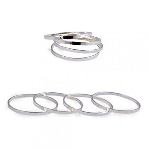 5PCS moda donna Slim Stack Plain above Knuckle MIDI al dito anelli set Amesii 53 (16.9) colore: Silver cod. AME