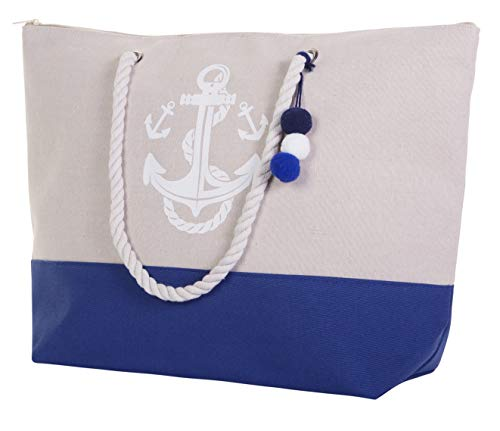 Beach Bag By Pier 17 - Extra Large Canvas Beach Tote, Top Zipper Closure, Rope Handles, 2 Inner Pocket, Wooden Charm, Pom Pom, Built-In Inner Backing for Extra Durability - L21