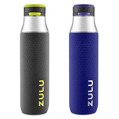 ZULU Studio Tritan Water Bottles with Silicone Grip, Leak Proof Flip Lid, BPA Free, Tasteless & Odorless, 32oz Grey/Violet Ice -2 Pack