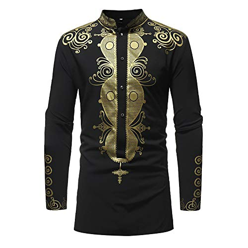 (Toimothcn Men's African Style Print Long Sleeve 1/4 Zipper Dashiki Shirt Top Blouse (Black,2XL))