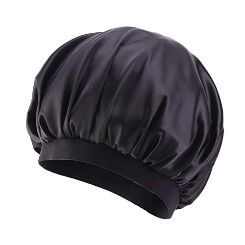 Women's Silky Satin Turban Solid Color Bonnet Hat Elastic Night Sleep Hat Hair Loss Cap (Black)