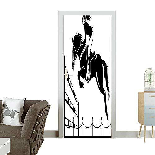 Homesonne Door Decals Jockey Girl Jump Barrier Barn Farm Image Black White Pressure resistantW23 x H70 INCH ()