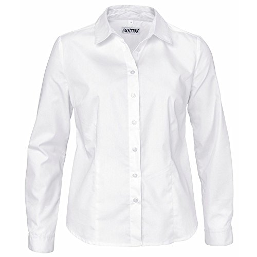 SUNTTON Women Long Sleeve Basic Simple Button-down Shirt Oxford Blouse with Stretch (M, White) ()