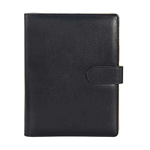 Youpin Leather Small Portfolio - Junior Portfolio Folder/Business for Men & Women, 7 x 9 Mini Writing Pad (03-Black)