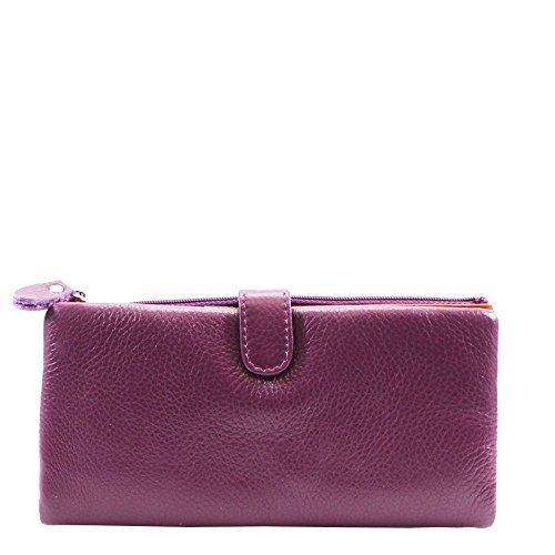 Haute für Diva S NEU mehrfarbig Innere Echtleder Reißverschluss Tasche Damen Geldbeutel Brieftasche - Rot, Large Lila