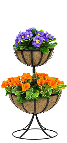 Sorbus Two-Tier Planter Basket Stand with Coco Liners, Decorative Raised Planter for Flowers, Plants, Floral Displays, Seasonal Décor, Stylish for Home, Garden, Patio, Deck, Black Metal