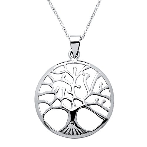 Round .925 Sterling Silver Tree of Life Openwork Medallion Pendant Necklace Adjustable (Medallion Locket)