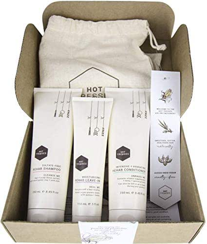 Natural Shampoo & Conditioner & Leave-In Set - Certified Vegan and Cruelty Free | 3 Pce Gift Box | SLS Sulfate Free & Paraben Free with Hemp & Coconut Oil | best for damaged, dry, frizzy & curly hair