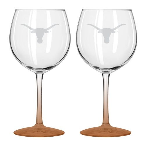 Boelter Brands NCAA Texas Longhorns Satin Etch Balloon Wine Glass, 20-ounce, 2-Pack - 336071