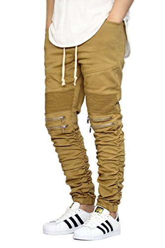VICTORIOUS Men's Twill Biker Jogger Pants With Shirring Detail S-3XL (L, Wheat)