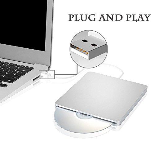 External CD DVD Drive Sunreal Ultra Slim Portable USB 2.0 CD+/-RW DVD +/-RW Burner Writer Player for Apple Mac Macbook Pro/Air iMac Laptop by Sunreal (Image #5)