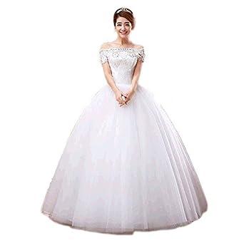 Nuevo vestido de novia tubo superior de las mujeres embarazadas un hombro vestidos de novia boda juntos de las correas de cintura alta, white, ...