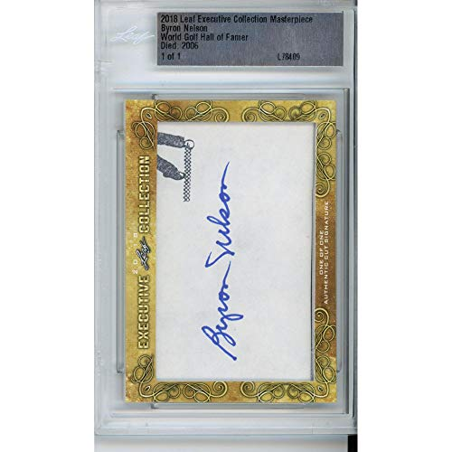 Byron Nelson Autographed Leaf Signature Card - Limited Edition of 1 - JSA Certified - Autographed Golf Cards from Sports Memorabilia