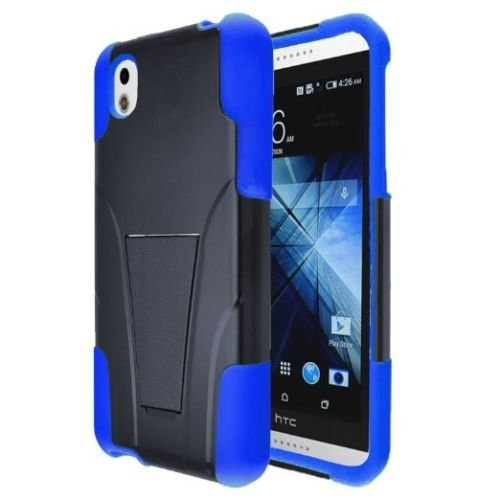 HTC Desire 816 Case, Allmet Heavy Duty Rugged Impact Hybrid Case Cover For HTC Desire 816 Case; Black Hard Shell Combo Holster Case cover Kickstand Protective Case for HTCDesire 816 Case (Blue) (Faceplate Color Transparent Blue)