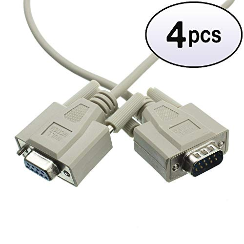 232 Rs Extender Port - GOWOS (4 Pack) Null Modem Cable, DB9 Male to DB9 Female, UL Rated, 8 Conductor, 25 Feet