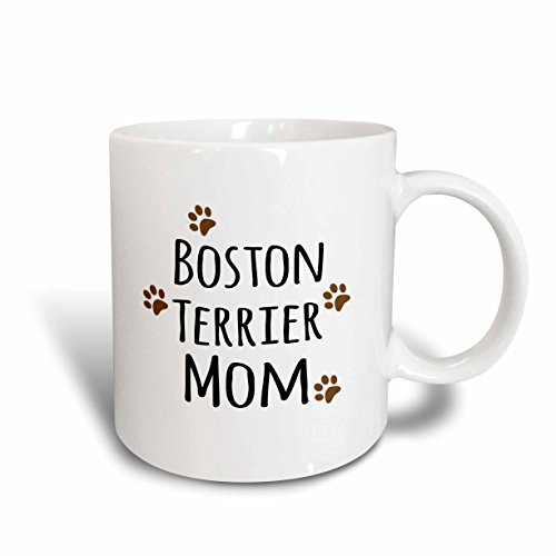 Boston Terrier Plates (3dRose (mug_154081_2) Boston Terrier Dog Mom - Doggie by breed - brown muddy paw prints love - doggy lover mama pet owner - Ceramic Mug, 15-ounce)