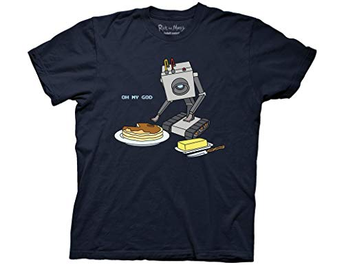 Ripple Junction Rick and Morty Adult Butter Bot with Pancakes Heavy Weight 100% Cotton Crew T-Shirt LG Navy