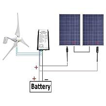 ECO-WORTHY 24 Volts 600 Watts Wind Solar Power System: 1pc 12V/24V 400 Watt Wind Turbine Generator + 2pcs 12V 100 Watt Polycrystalline Solar Panel + 24cm Cable with MC4 Connector