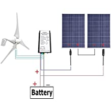 ECO-WORTHY 24 Volts 600 Watts Wind Solar Power: 1pc 12V/24V 400 Watt Wind Turbine Generator + 2pcs 12V 100 Watt Polycrystalline Solar Panel + 24cm Cable with MC4 Connector