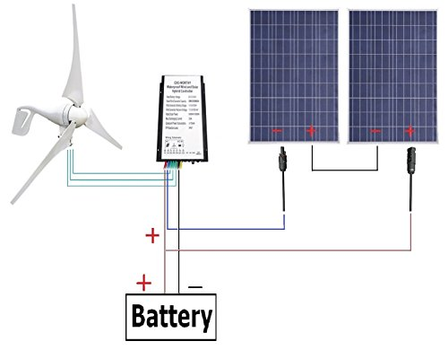 600 Watts Wind Solar Power: 1pc 12V/24V 400 Watt Wind Turbine Generator + 2pcs 12V 100 Watt Polycrystalline Solar Panel + 24cm Cable with MC4 Connector (12vdc Integrated Solar Power Systems)