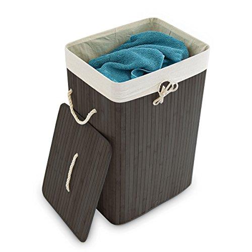 Relaxdays Wäschekorb Bambus HxBxT: ca. 65,5 x 43,5 x 33,5 cm faltbare Wäschetruhe rechteckig mit einem Fassungsvolumen von 83 L mit Wäschesack aus Baumwolle zum Herausnehmen als Wäschepuff, schwarz