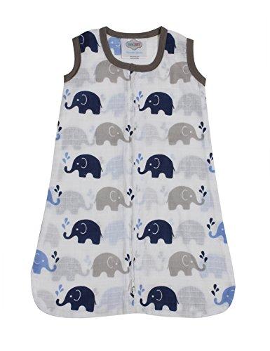 Bacati - Muslin Printed Sleeping Bag (Wearable Blankets) (Medium, Elephants Blue/Grey)