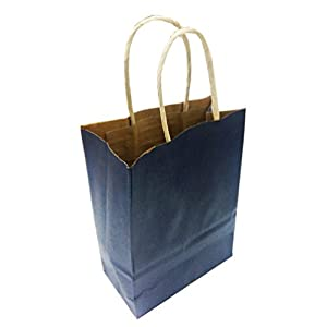 Amazon.com: AZOWA Gift Bags Navy Blue Kraft Paper Bags With ...