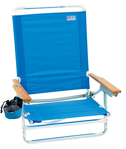 - Rio Beach Classic 5 Position Lay Flat Folding Beach Chair - Perri Blue