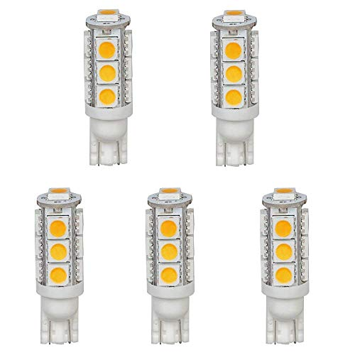 - HERO-LED T10WG13T-WW 12V DC T10 Wedge 194 921 168 Ultra Bright 13-LED 5050 SMD LED Bulb, 5-Pack, Warm White/Soft White 3000K