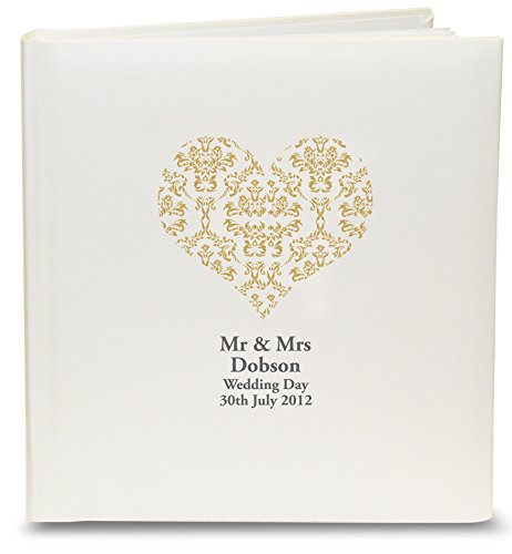 Personalised Gold Damask Heart Traditional Album