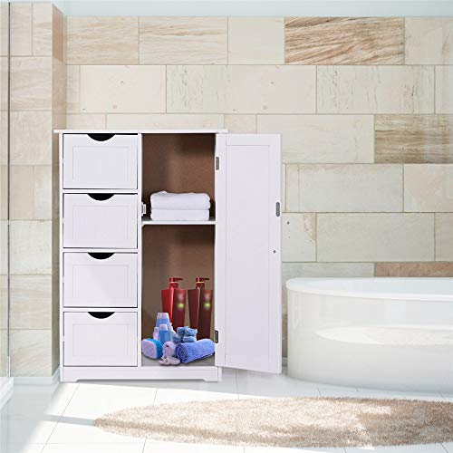 Bathroom Floor Cabinet, CrazyLynX Free Standing Wooden Storage Cabinet Organizer with 4 Drawers and One Cupboard, 22