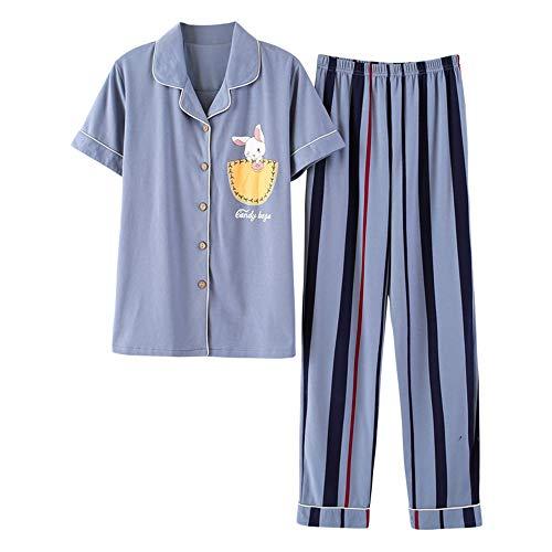 Pantaloni Photo Pezzi Corte Maniche Donna Carino Cotone Estivo Vestito Pigiama Ellse Color A Due In BnCwdqTTO