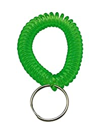 Ailisi Plastic Spring Wrist Strap with Key Ring Color Green Pack of 12