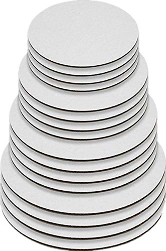 Round Greaseproof Cake Boards - White Cake Circle Base, 6/8/10/12 inch, 5 of Each Size ()