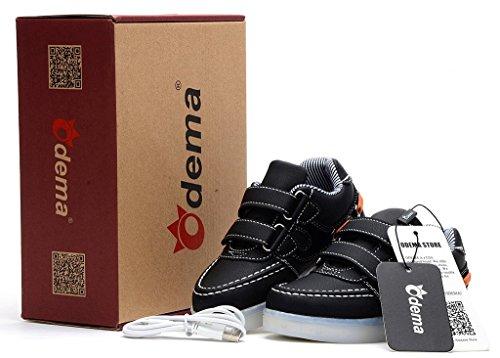 Odema Zapatillas de Luz LED Colores de Velcro Unisex para Ninos Negro