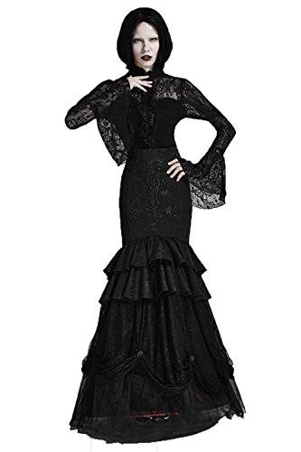 en Rock Frauen Zwei Gothic Schwarz Rock Weat bestickt Kleid 6 Wrap Gr Vintage Punk Langarm Abnehmbare IRdnZqwwF