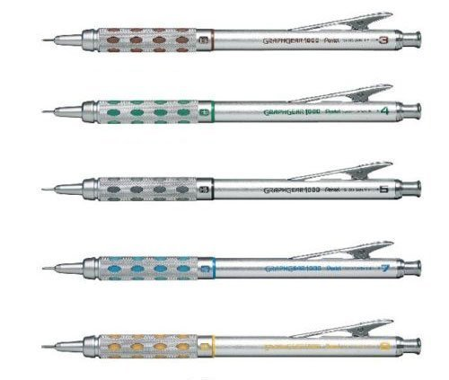 Pentel Graphgear 1000 Automatic Drafting Pencil, 0.3 mm, 0.4 mm, 0.5 mm, 0.7 mm, 0.9 mm 5pics Set