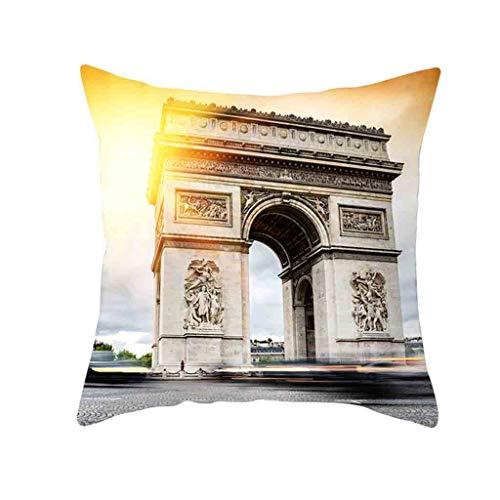TIFENNY Retro Cushion Cover Up London Paris City Street Scenery Pillowcase Home -