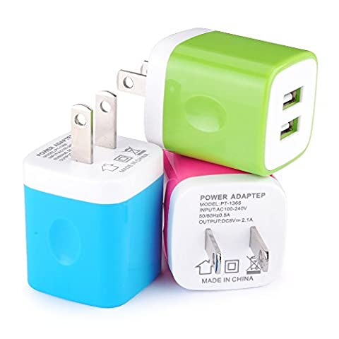 Wall Charger, [3-Pack] 5V/2.1AMP Ailkin Colorful 2-Port USB Wall Charger Home Travel Plug Power Adapter For iPhone 7/7 plus, 6s/6s plus, Samsung Galaxy S7 S6, HTC, LG, Table, Motorola And (Wall Adaptor For Iphone 5)