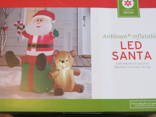 Airblown Inflatable LED Santa with Candy Cane and Teddy Bear - 4 Feet Tall! (Cane Candy Bears)