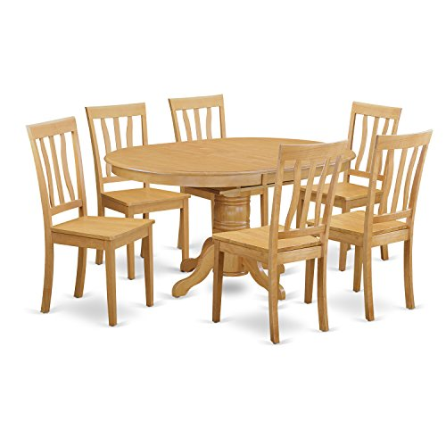 East West Furniture AVAT7-OAK-W 7-Piece Dining Table Set, Oak Finish