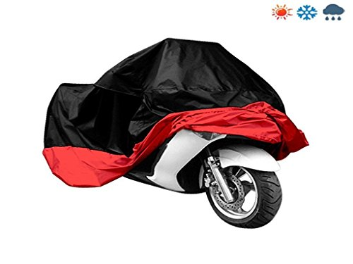 Signstek Polyester Taffeta Motorbike Motorcycle Protective Breathable Cover---Water Resistant Dustproof UV (XL, Black/Red)