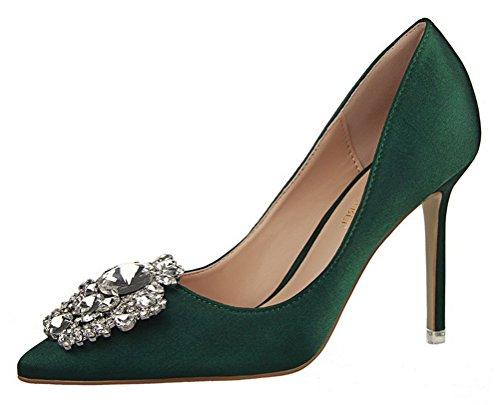Passionow Women's Elegant Pointed Toe Buckle Rhinestones Stiletto High Heel Satin Dressy Dress Pumps (7.5 B(M) (Mystique Studded Sandals)